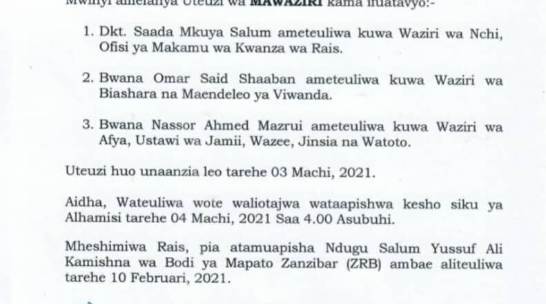 Rais wa Zanzibar na Mwenyekiti wa Baraza la Mapinduzi Mhe.Dk. Hussein Ali Mwinyi afanyauteuzi wa Mawaziri.